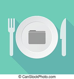 Long shadow tableware vector illustration with a folder