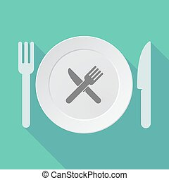 Long shadow tableware vector illustration with a knife and a fork