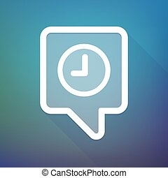 Long shadow tooltip icon on a gradient background  with a clock