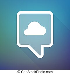 Long shadow tooltip icon on a gradient background with a cloud