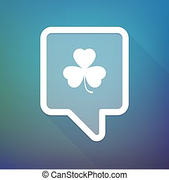 Long shadow tooltip icon on a gradient background with a clover