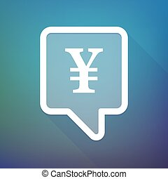 Long shadow tooltip icon on a gradient background with a yen sign