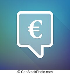 Long shadow tooltip icon on a gradient background with an euro sign