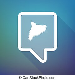 Long shadow tooltip icon on a gradient background with the map of Catalonia