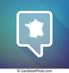 Long shadow tooltip icon on a gradient background with the map of France