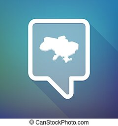 Long shadow tooltip icon on a gradient background with the map of Ukraine