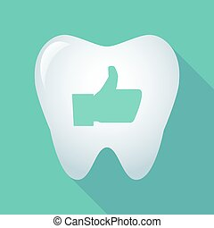 Long shadow tooth icon with a thumb up hand
