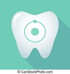 Long shadow tooth icon with an atom