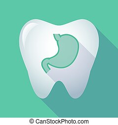 Long shadow tooth with  a healthy human stomach icon
