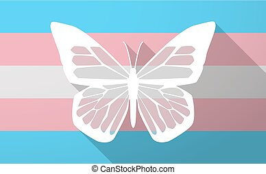 Illustration of a long shadow trans gender flag with a butterfly