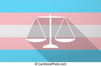Long shadow trans gender flag with a justice weight scale sign