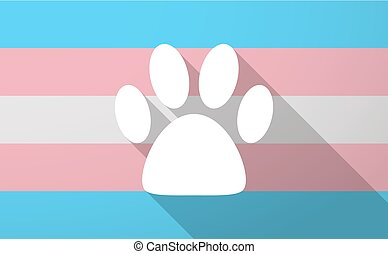 Illustration of a long shadow trans gender flag with an animal footprint