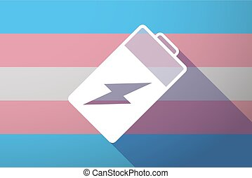 Long shadow transgender flag with a battery