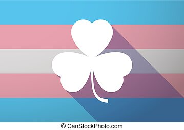 Long shadow transgender flag with a clover