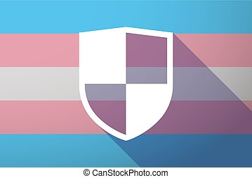 Long shadow transgender flag with a shield