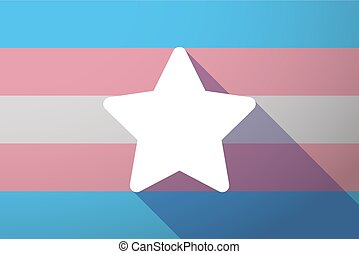 Long shadow transgender flag with a star - Illustration of a...