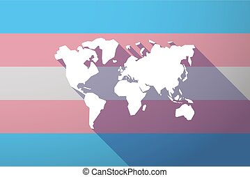 Illustration of a long shadow transgender flag with a world map