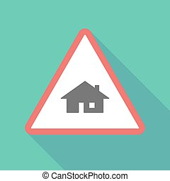 Long shadow triangular warning sign icon with a house