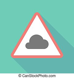 Long shadow triangular warning sign icon with a cloud