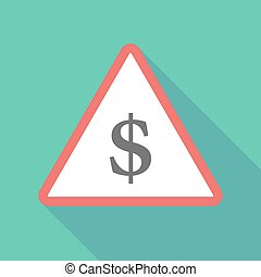 Long shadow triangular warning sign icon with a dollar sign