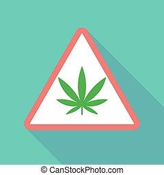 Long shadow triangular warning sign icon with a marijuana leaf