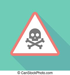Long shadow triangular warning sign icon with a skull
