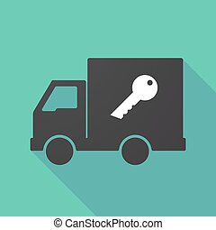 Long shadow truck with a key - Illustration of a long shadow...