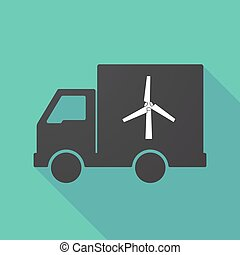 Long shadow truck with a wind turbine