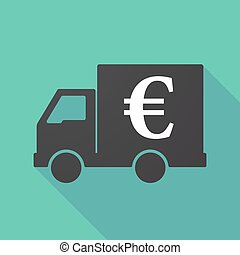 Long shadow truck with an euro sign