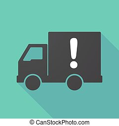 Long shadow truck with an exclamarion sign