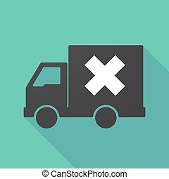 Long shadow truck with an x sign