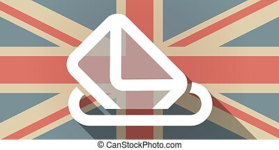 Long shadow UK flag icon with a ballot box