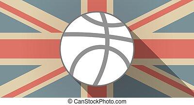 Long shadow UK flag icon with a basketball ball