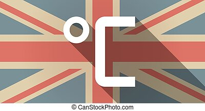 Long shadow UK flag icon with  a celsius degree sign