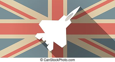 Long shadow UK flag icon with a combat plane