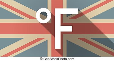 Long shadow UK flag icon with  a farenheith degrees sign