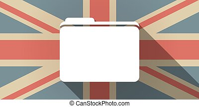 Long shadow UK flag icon with a folder