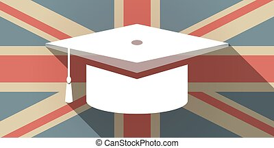 Long shadow UK flag icon with a graduation cap