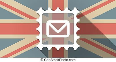Long shadow UK flag icon with a mail stamp sign