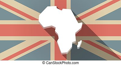 Long shadow UK flag icon with  a map of the african continent