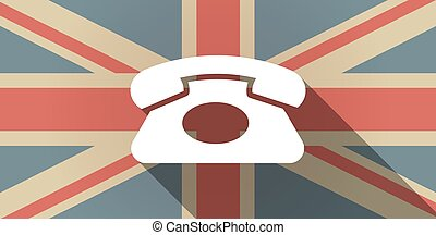 Long shadow UK flag icon with a retro telephone sign