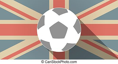 Long shadow UK flag icon with a soccer ball
