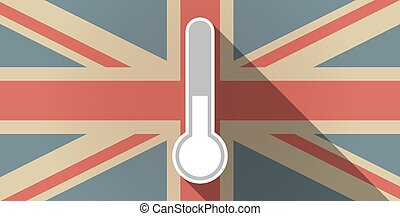 Long shadow UK flag icon with  a thermometer icon
