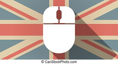 Long shadow UK flag icon with a wireless mouse