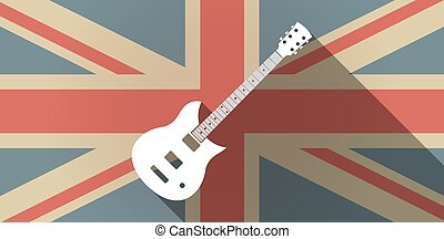 Long shadow UK flag icon with  an electric guitar