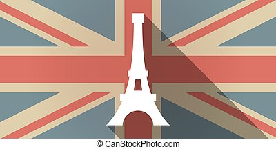 Long shadow UK flag icon with the Eiffel tower