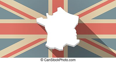 Long shadow UK flag icon with the map of France