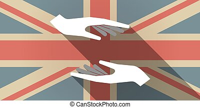 Long shadow UK flag icon with two hands giving and receiving or protecting