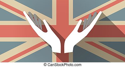 Long shadow UK flag icon with two hands offering