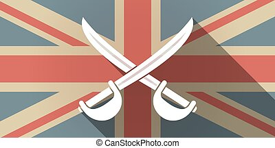 Long shadow UK flag icon with two swords crossed